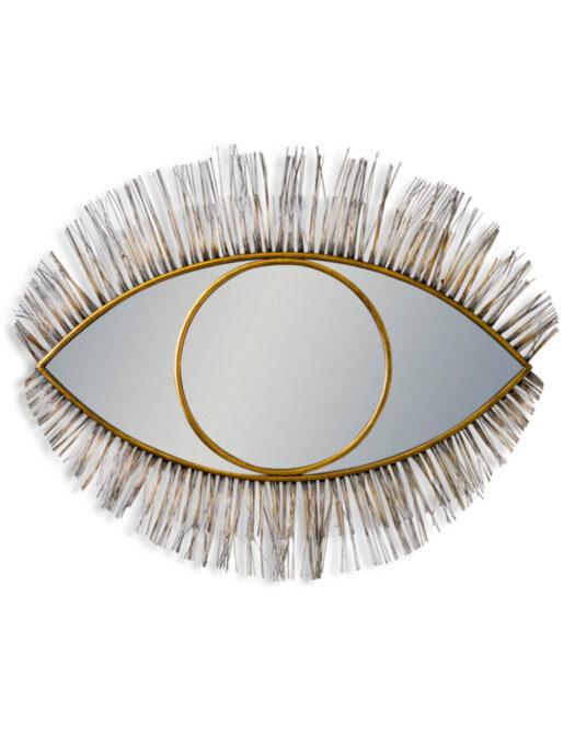 Large Antique Gold Metal Eye Wall Mirror