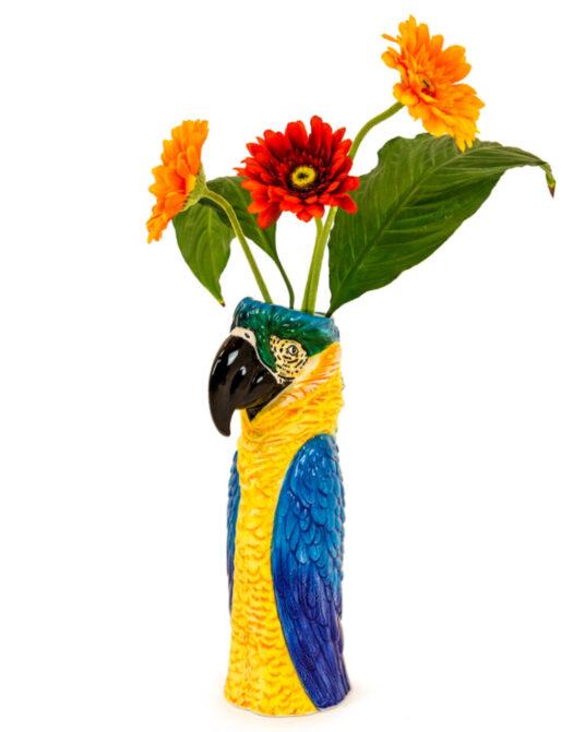 Ceramic Blue Macaw/Parrot Head Vase