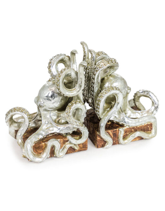 Silver Octopus Pair of Bookends