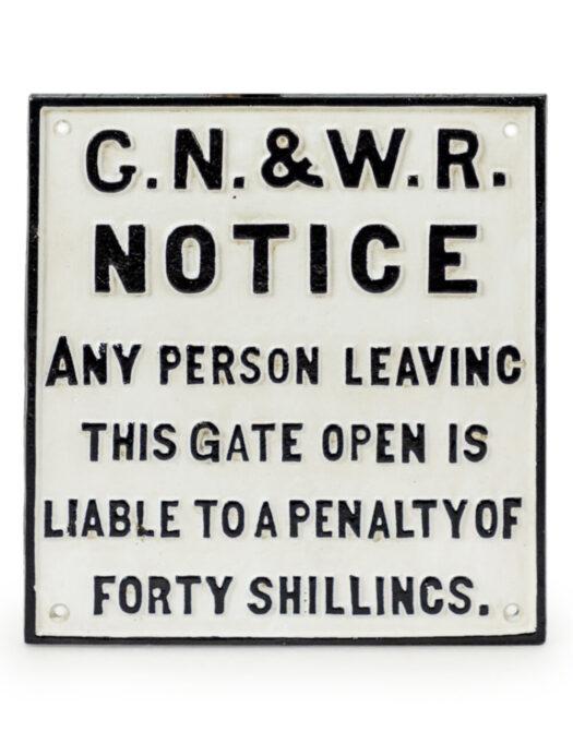 Cast Iron Antiqued G.N.&W. Railway Sign