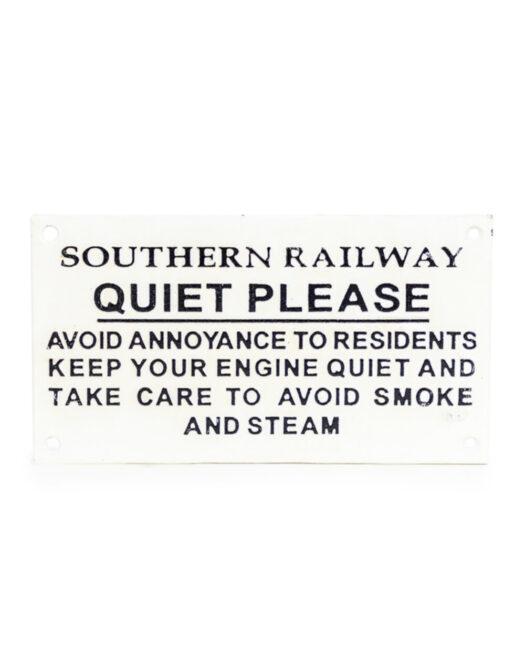 Cast Iron Antiqued SR Quiet Warning Sign