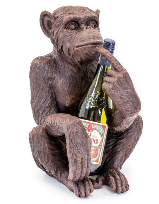 Antiqued Bronze Sitting Monkey Figure/Bottle Holder