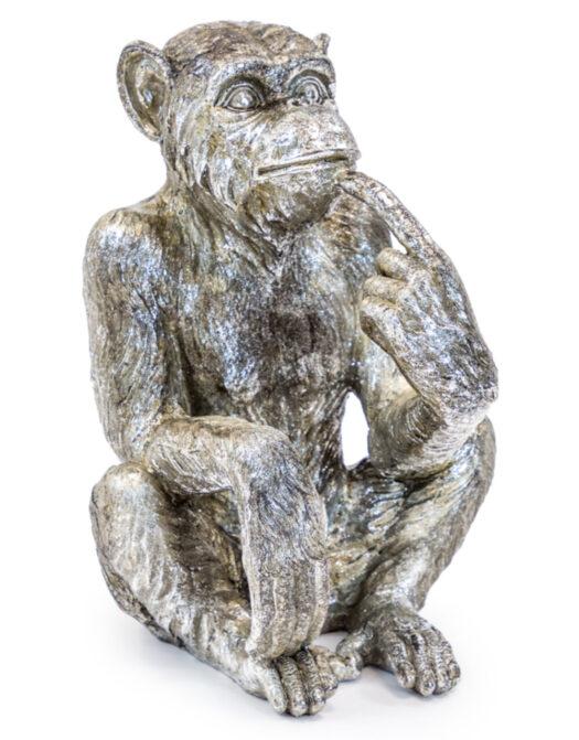Antiqued Silver Sitting Monkey Figure/Bottle Holder