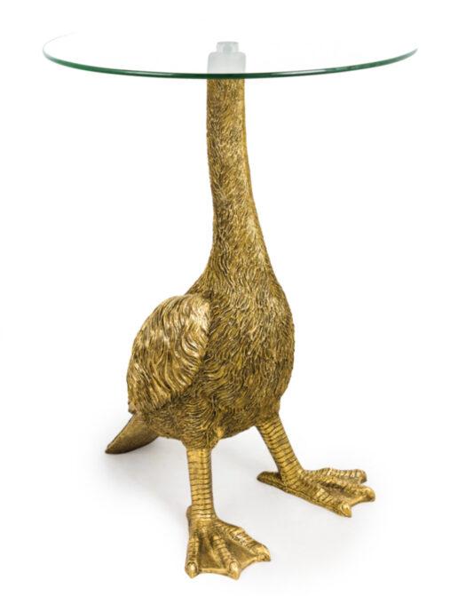 Antiqued Gold Goose Side Table