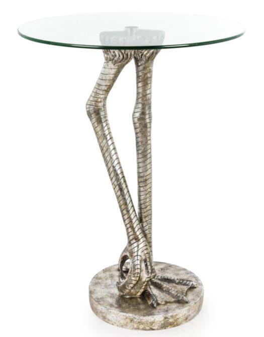 Antiqued Silver Bird Leg Side Table