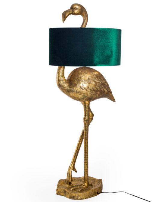 Antique Gold Flamingo Floor Lamp with Green Velvet Shade