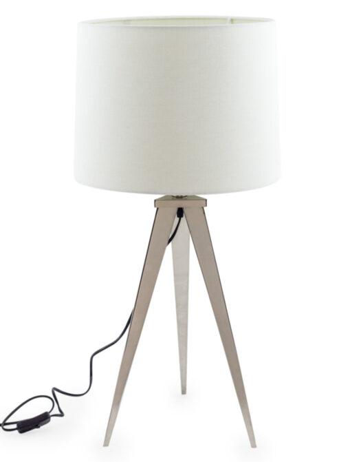 Chrome Arrow Tripod Table Lamp with White Shade