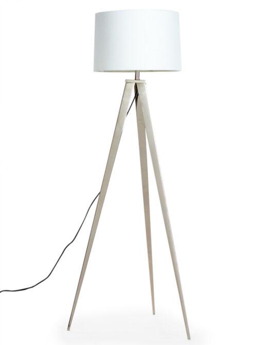 Chrome Arrow Tripod Floor Lamp with White Shade