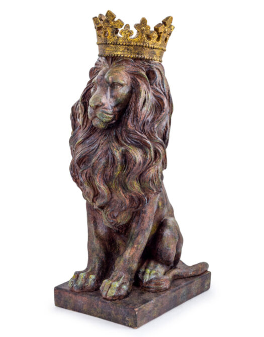 Small Rustic Bronze Effect Crowned Lion Figure