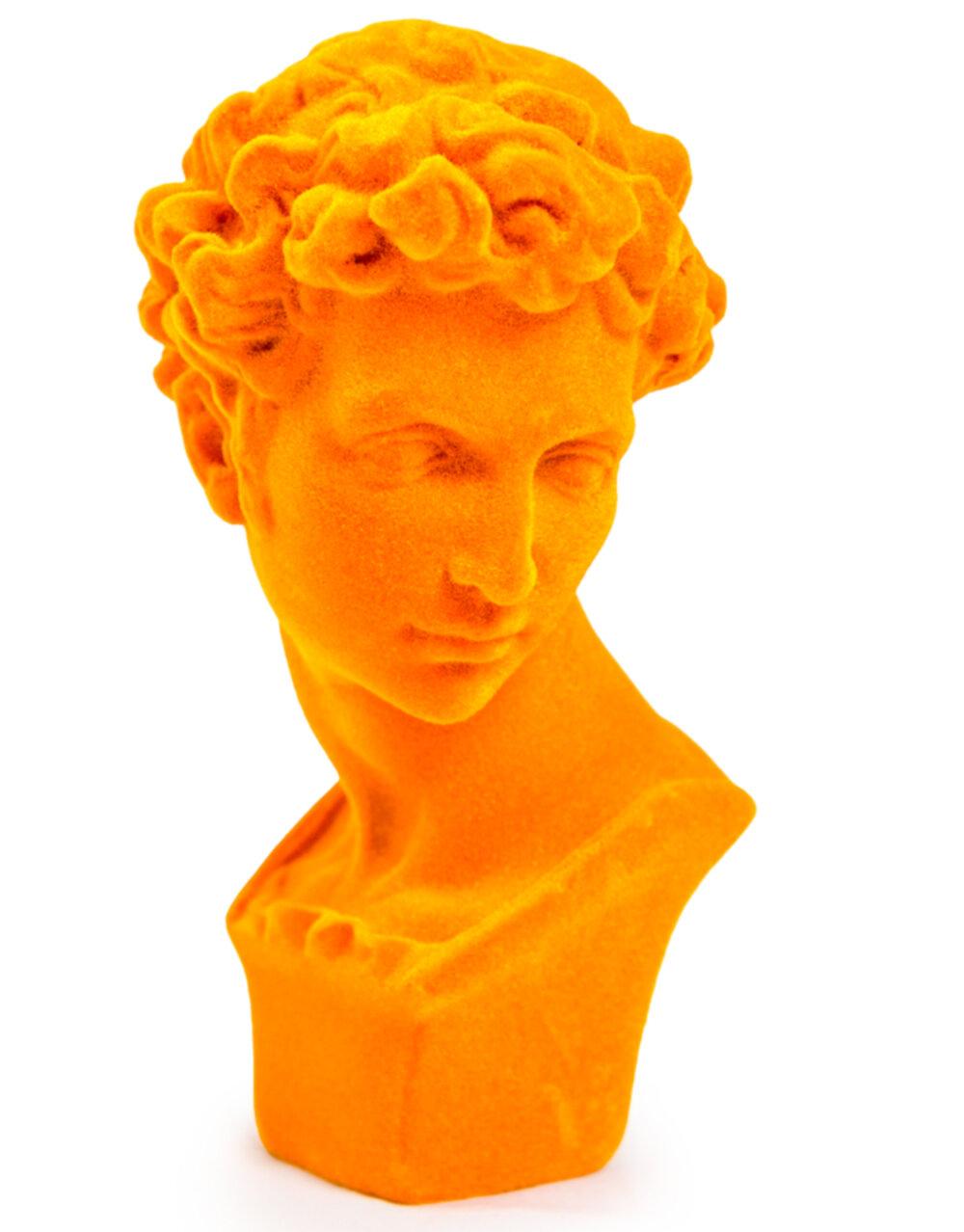 Bright Orange Flock Classic Bust Figure