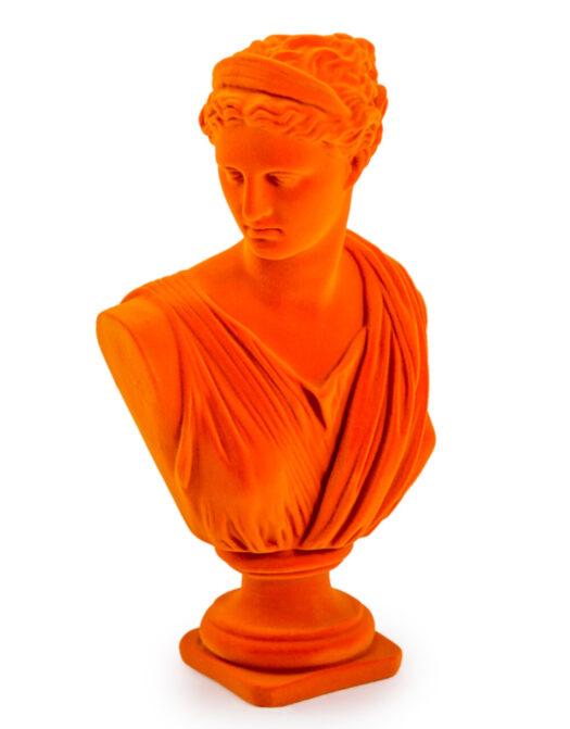 Bright Orange Flock Large Artemis Bust