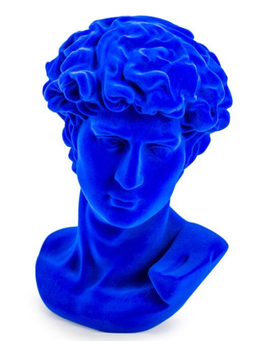 Cobalt Blue Flock Large David Bust