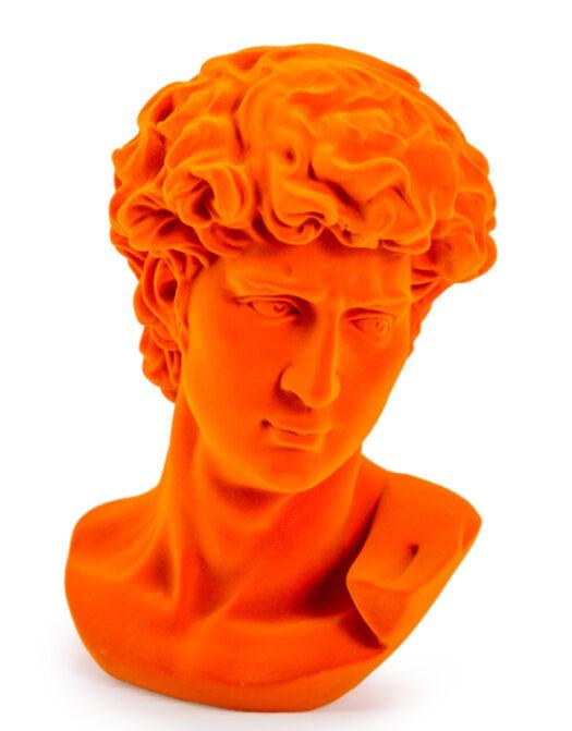 Bright Orange Flock Large David Bust