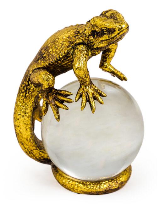 Gold Lizard on Crystal Ball Ornament