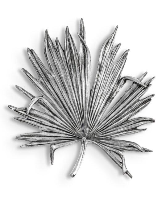 Large Antique Silver Palm Leaf Wall Decor