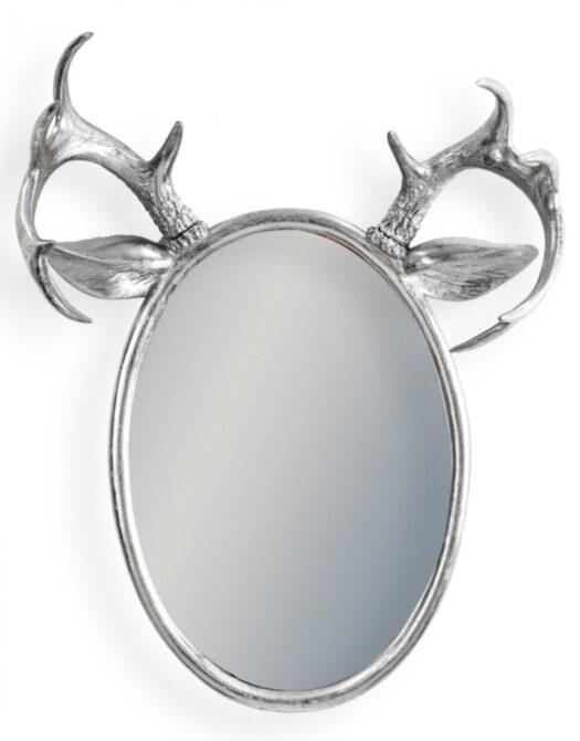 Silver Leaf Oval Stag Horn Wall Mirror
