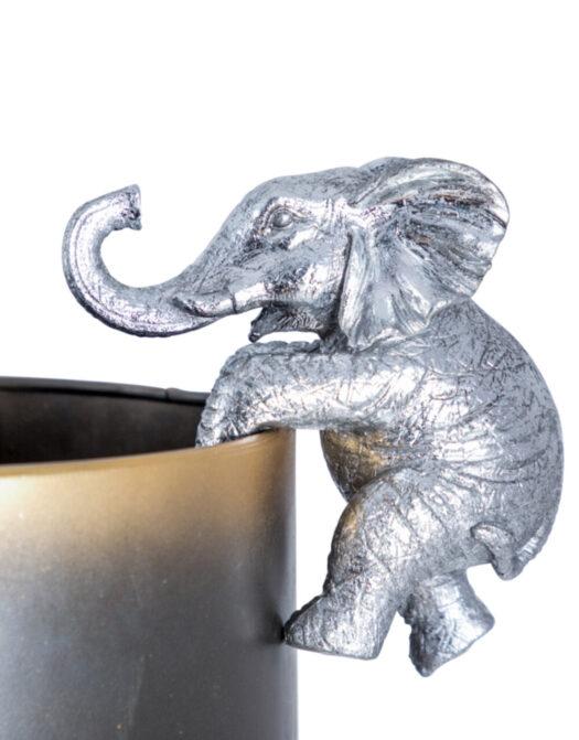 Antique Silver Hanging Elephant Pot Decor